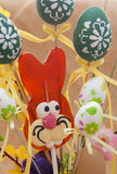 Red easter bunny with eggs Stock Photo