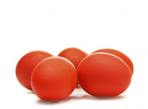 Red easter egg. Five isolated red easter egg Royalty Free Stock Photography
