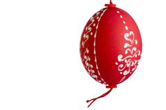 Red easter egg. Traditional painted red Easter egg Royalty Free Stock Photography