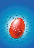 Red easter egg. Blue easter egg on blue background Royalty Free Stock Photo