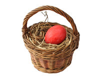 Red Easter egg in the basket Royalty Free Stock Photo