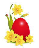 Red Easter egg and daffodils with ladybug, Stock Photography