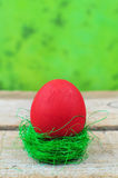 Red easter egg in grass nest Royalty Free Stock Photo
