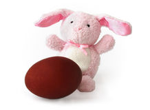 Red Easter egg and the hare Stock Image