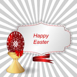 Red easter egg with ornament on a support, a tag with ribbon. Vector Stock Photos