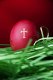 Red Easter egg with religious symbol Royalty Free Stock Photo