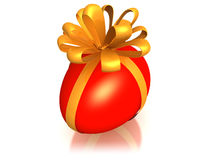 Red easter egg with ribbon Royalty Free Stock Photos