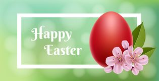 Red Easter egg with white frame. Red Easter egg with pink cherry flower, leaf, white frame and green background. Vector illustration for Easter holiday and Stock Image