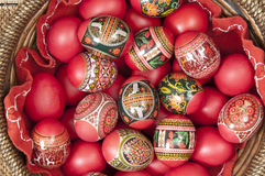 Red Easter Eggs. In a basket royalty free stock photo