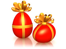 Red easter eggs with ribbon Stock Photos