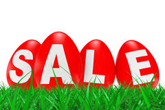 Red Easter Eggs with Sale Sign in Green Grass. 3d Rendering Stock Images