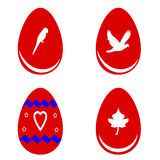 Red Easter eggs with shapes  Royalty Free Stock Image