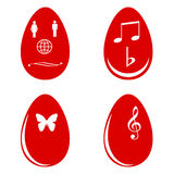 Red Easter eggs white white shapes  Stock Image