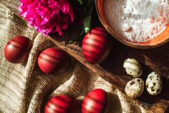 Easter eggs and flowers, willow branches 5 royalty free stock photo