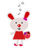 Red easter singing bunny vector illustration