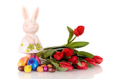 Red Easter tulips bunny Royalty Free Stock Image