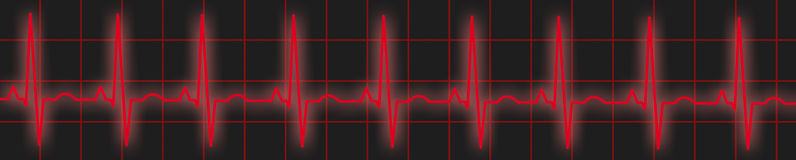 Red ECG Trace. Illustration of an ECG or EKG trace Royalty Free Stock Photos