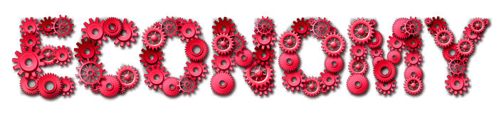 Red economy text symbol with gears and cogs Stock Images