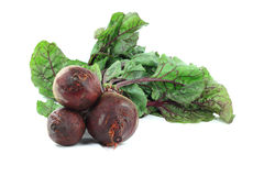 Red edible nutritious roots Beets, with leaves. Still life picture of Organic Beets, red edible roots (fleshy nutritious bulbs) with typical for Beets green Stock Photo