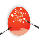 Red egg and brush for Easter day card Royalty Free Stock Photos