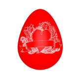Red egg with doodle sketch Royalty Free Stock Photos