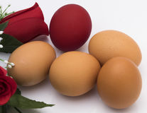 Red egg. Simulation of red dyeing by contact of the rose Royalty Free Stock Photography