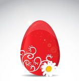 Red egg whit white flower illustration backgroud Stock Photography