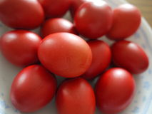 Red Eggs. Which symbolize happiness and the renewal of life, as well as announce the arrival of a newborn baby stock photography
