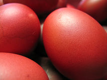 Red Eggs. Hard-boiled chicken eggs dyed with red food colouring. Popular item during the full moon (ie. one month birthday) of a newborn child in Chinese culture Stock Photos