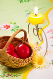 Red eggs and candle Royalty Free Stock Images