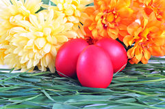 Red eggs on green grass; Easter tradition. Three red eggs and flowers on green grass; Easter tradition Stock Image