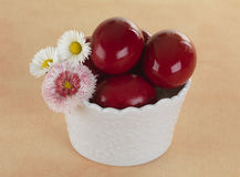 Red Eggs In A Porcelain Basket Stock Image