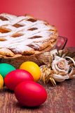 Red Eggs And Pastiera Royalty Free Stock Photos