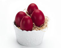 Red eggs in a white bowl Stock Photos