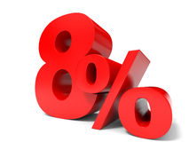 Red eight percent off. Discount 8%. Stock Images