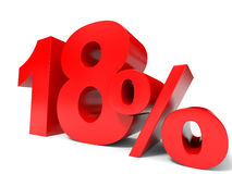 Red eighteen percent off. Discount 18%. Royalty Free Stock Image