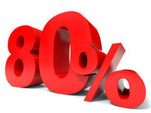 Red eighty percent off. Discount 80%. 3D illustration Royalty Free Stock Photos