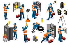 Red eléctrica de la energía eléctrica con los iconos del carácter libre illustration