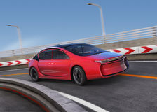 Red electric car on highway with motion blur background Royalty Free Stock Images