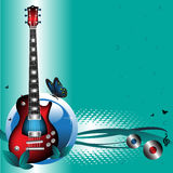 Red electric guitar. Colorful illustration with modern electric guitar and a blue butterfly Stock Image