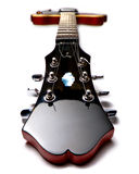 Red electric guitar on back. Wide angle Red electric guitar laying on back Stock Photos