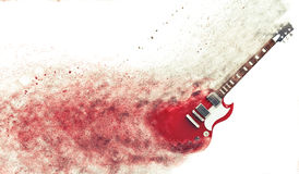 Red electric guitar disintegrating Royalty Free Stock Images