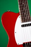 Red Electric Guitar On Green Stock Photography