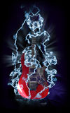 Red Electric Guitar In Lightnings Stock Image