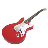Red electric guitar. Isolated render on a white background Stock Photo