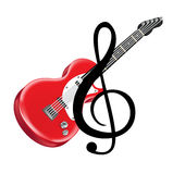 Red electric guitar and key note isolated Stock Photos