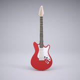 Red electric guitar. Render in the studio Stock Photos