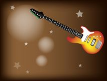 A Red Electric Guitar on Star Background Stock Photography