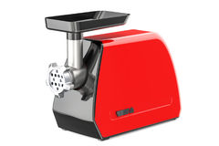 Red electric meat grinder closeup, 3D rendering Stock Photo