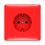 Red electric outlet isolated Stock Photos